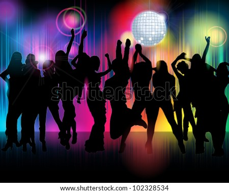 Vector illustration of colorful crowd of party people silhouettes background - stock vector