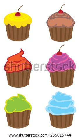 Vector illustration of colorful cupcakes of different flavors in cartoon style isolated on white background. - stock vector