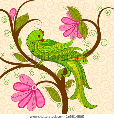 vector illustration of colorful decorated parrot - stock vector