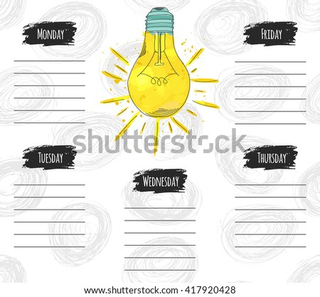 Vector illustration of colorful design schedule for the week. It can be used as a poster, greeting card, invitation, printed materials. Vector illustration - stock vector