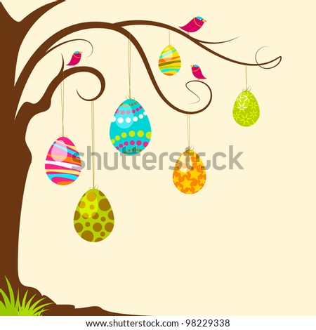vector illustration of colorful easter egg hanging from tree - stock vector