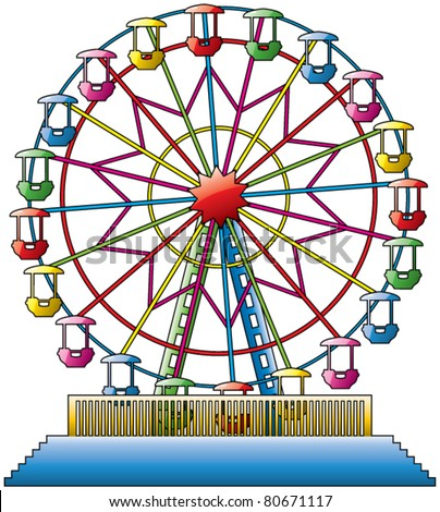 vector illustration of colorful ferris wheel - stock vector