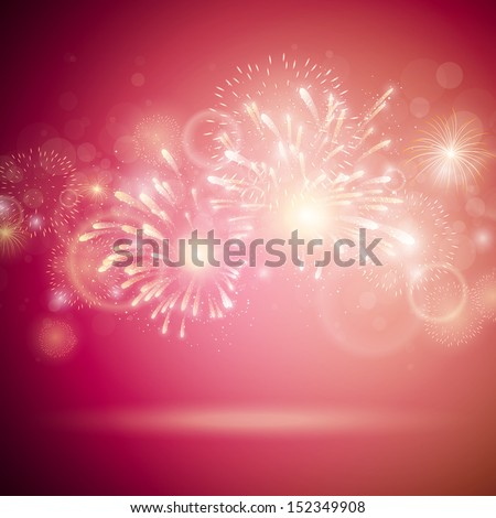 Vector Illustration of Colorful Fireworks - stock vector