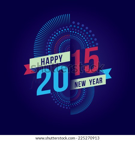 Vector illustration of Colorful fireworks. Happy new year 2015 theme