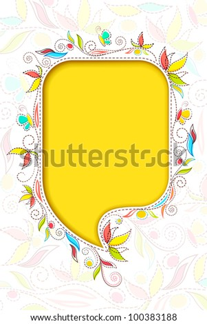 vector illustration of colorful floral chat bubble - stock vector