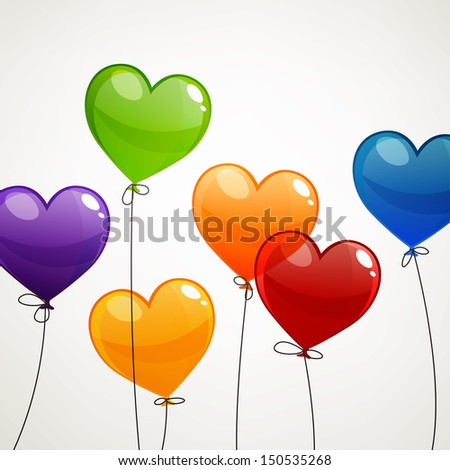 Vector Illustration of Colorful Flying Heart Balloons