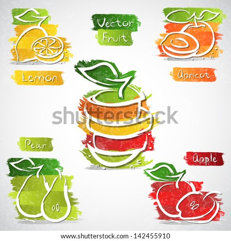 Vector illustration of colorful fruit icon collection - stock vector