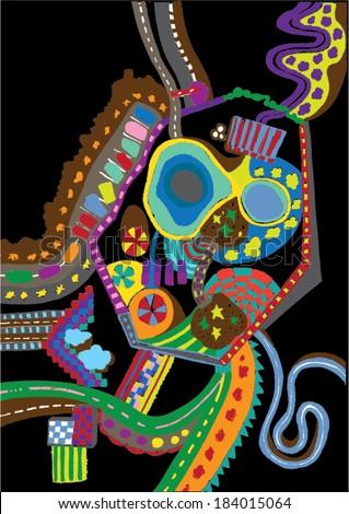 Vector illustration of colorful  graphic pattern. Childish, Willy Wonka, 70s. Landscape, Hundertwasser. - stock vector