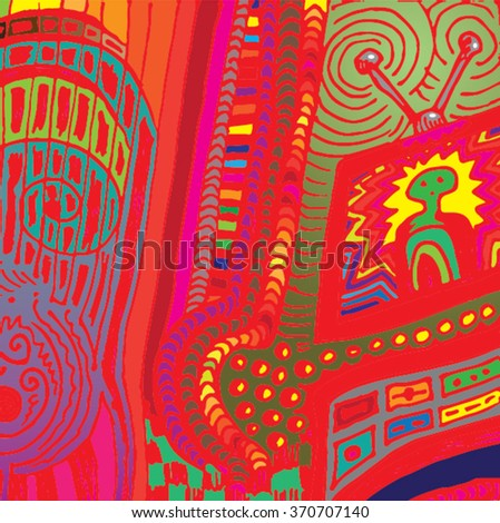 Vector illustration of colorful hand drawn graphic pattern / background. Checkers, lines, distressed, distorted, tube, alien, tv, grunge image.