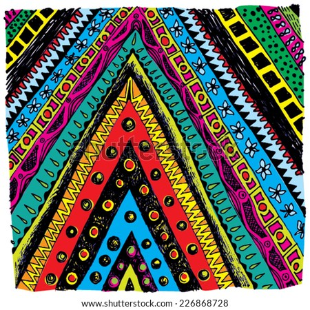 Vector illustration of colorful hand drawn pattern / texture. Triangle, tribal, flowers, dots. - stock vector