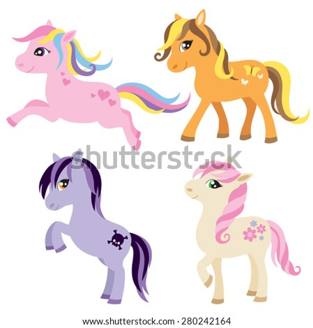 Vector illustration of colorful horse or pony. - stock vector
