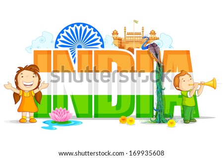 vector illustration of colorful India Wallpaper - stock vector