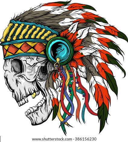 Vector illustration of colorful Indian  skull . - stock vector