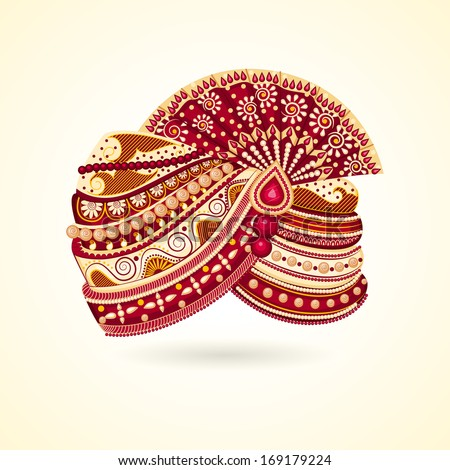 vector illustration of colorful Indian turban for marriage - stock vector