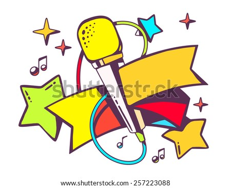 Vector illustration of colorful microphone with ribbon on white background. Bright color line art design for web, site, advertising, banner, flyer, poster, board and print. - stock vector
