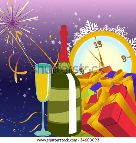 Vector illustration of Colorful new year party background. Design element for new-year congratulations.
