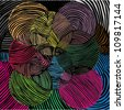 Vector illustration of colorful ornamental circle drawing. - stock photo