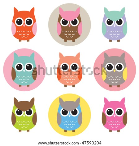 Vector illustration of colorful owls with nine color combinations. Seamless patterns with black and white background are included in the swatch. - stock vector