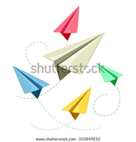 Vector Illustration of Colorful Paper Plane - stock vector