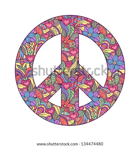 Vector illustration of colorful peace symbol on white background - stock vector