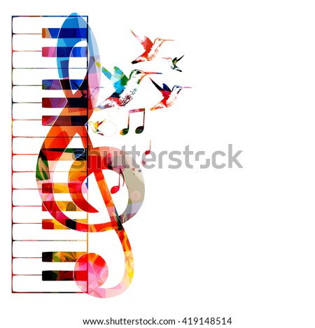 Vector illustration of colorful piano keyboard with G-clef
