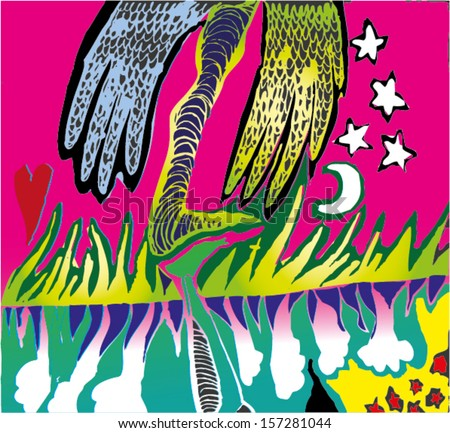 Vector illustration of colorful psychedelic surrealism childish drawing. Leg, stars, moon, wings, monster. Hand drawn. - stock vector