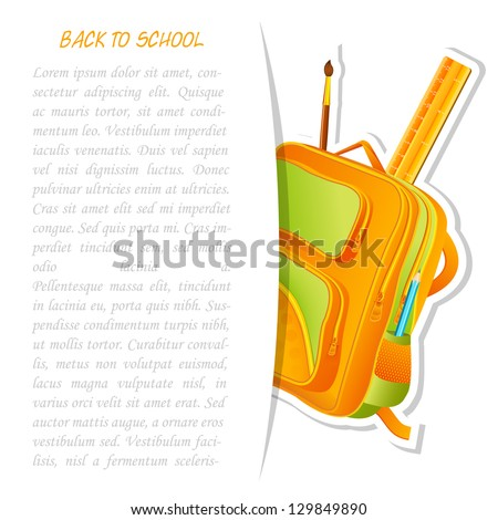 vector illustration of colorful school bag with pencil and ruler - stock vector
