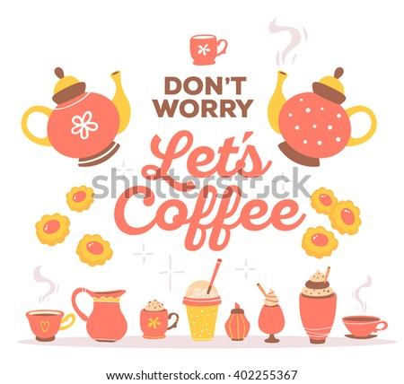 Vector illustration of colorful set of red and yellow coffee theme objects with brown text isolated on white background with star. Hand drawn art design.