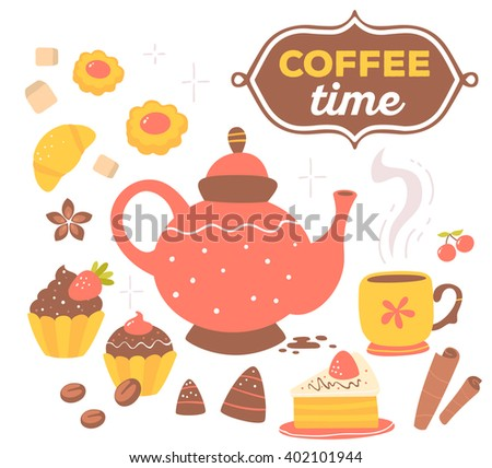 Vector illustration of colorful set of red and yellow coffee theme objects with text in brown frame isolated on white background with star.Hand drawn art design for card, paper print, shop, cafe, menu