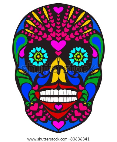 Vector illustration of colorful skull - stock vector