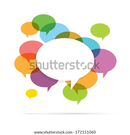 Vector illustration of colorful speech bubble copyspace. - stock vector