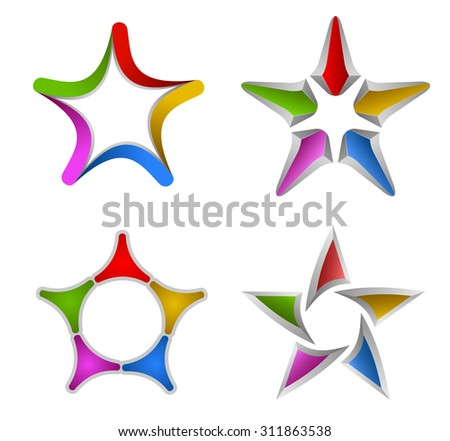 Vector illustration of colorful star design elements