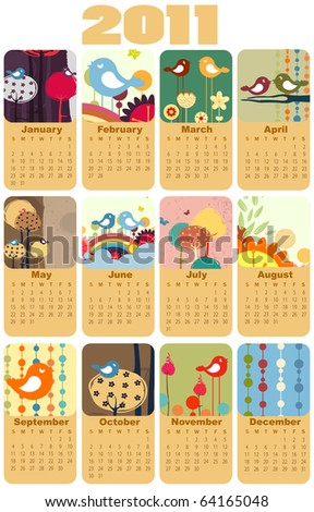 Vector Illustration of colorful style design Calendar for 2011 - stock vector