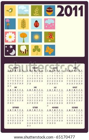 Vector Illustration of colorful style design Calendar for 2011