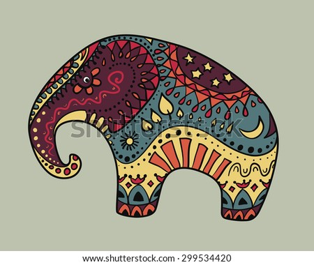 Vector illustration of Colorful stylized Elephant with ornaments (earth and day cycle elements - sun, moon, stars, trees, sky, earth, water, fire). Eps 10. - stock vector