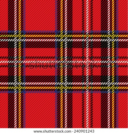 Vector illustration of colorful tartan, plaid fabric. Scotland kilt textile, red, black.