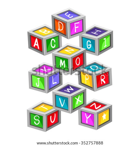 Vector Illustration of colorful Toy Letter Blocks - stock vector