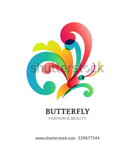 Vector illustration of colorful transparent butterfly. Abstract creative logo sign design. Modern concept for beauty salon, fashion, spa, natural organic cosmetics, makeup, visage, accessories. - stock vector