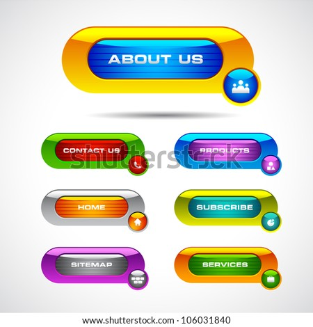 vector illustration of colorful web button for different purpose - stock vector