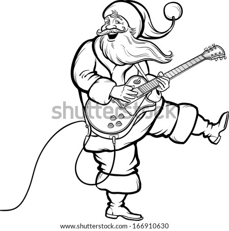 Vector illustration of Coloring Book of Santa playing electric guitar. Easy-edit layered vector EPS10 file scalable to any size without quality loss. High resolution raster JPG file is included.  - stock vector