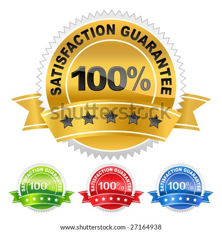 vector illustration of coloured label satisfaction guarantee - stock vector