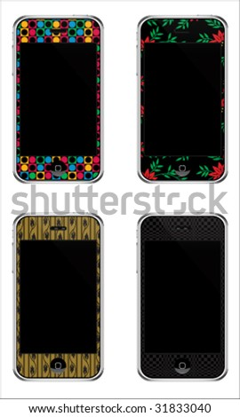 Vector Illustration Of Coloured Mobile Phones With Touch Screen - stock vector