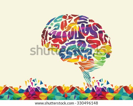 vector illustration of colourful brain - stock vector