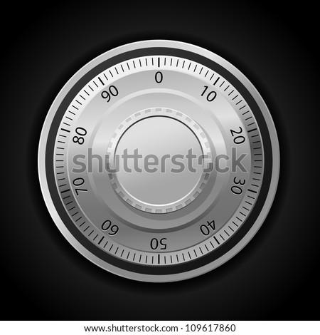 Vector illustration of combination lock wheel dark background - stock vector