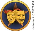 Vector illustration of  Comedy Tragedy Theater Masks. - stock vector