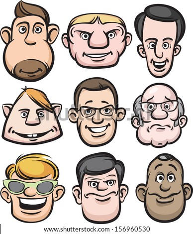 vector illustration comic men faces easyedit stock vector (2018