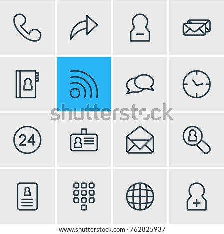 Vector Illustration Of 16 Community Outline Icons. Editable Set Of Number, Dialogue, Copybook And Other Elements.