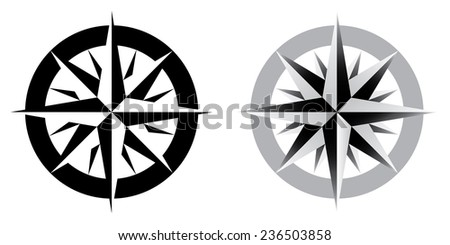Vector illustration of compass, black and white - stock vector