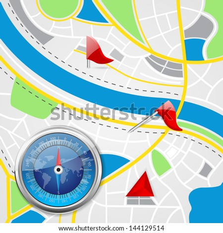vector illustration of compass on road map background with pointer - stock vector