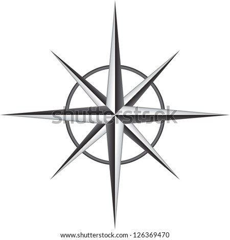 Vector illustration of compass rose - stock vector